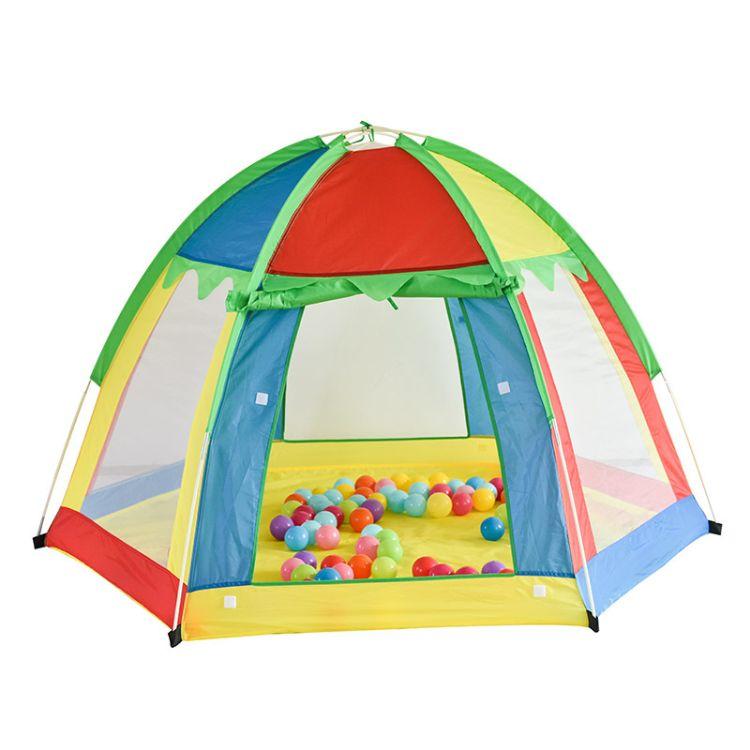 66baby品牌室内外六角儿童帐篷 七色彩虹透气玩具游戏屋厂家直销