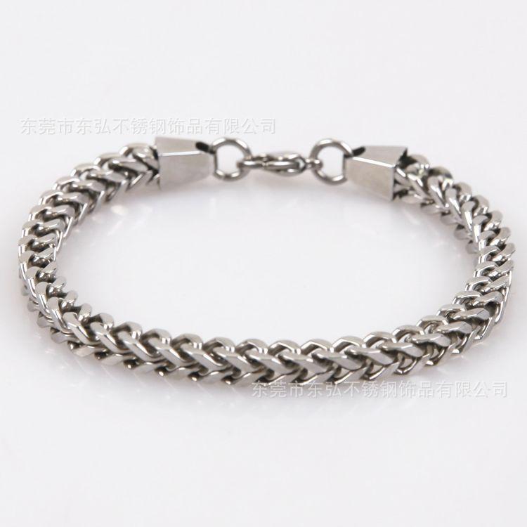 欧美 不锈钢男士正反扭手链 钛钢6x6正方链间金手链 饰品订制加工