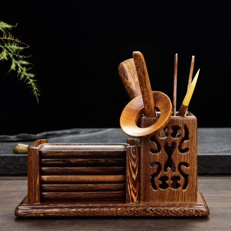 鸡翅木茶道六君子长方形带杯垫镂空功夫茶具实木茶道茶盘配件批发