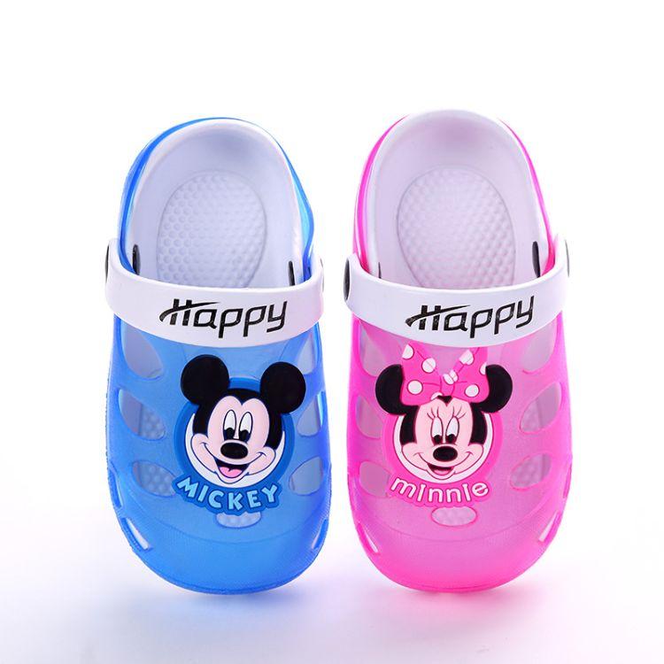 2018新款儿童米奇洞洞鞋 透气防滑 软底 糖果色果冻儿童凉拖鞋