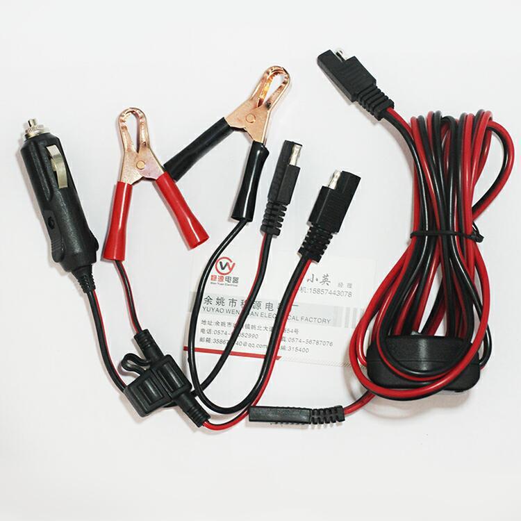 太阳能连接线 保险丝太阳能连接线 SAE对锷鱼夹连接线 机器设备线