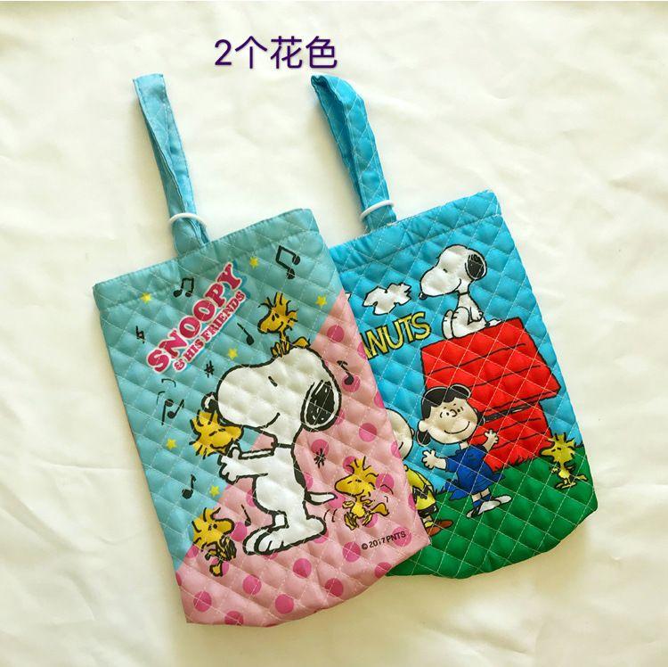 出口日本原单正版史努比snoopy鞋袋防尘袋子绗缝布便携旅行收纳用