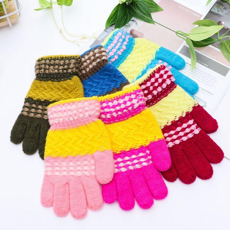 冬季韩版仿羊绒儿童针织手套户外出行保暖手套学生全指手套批发
