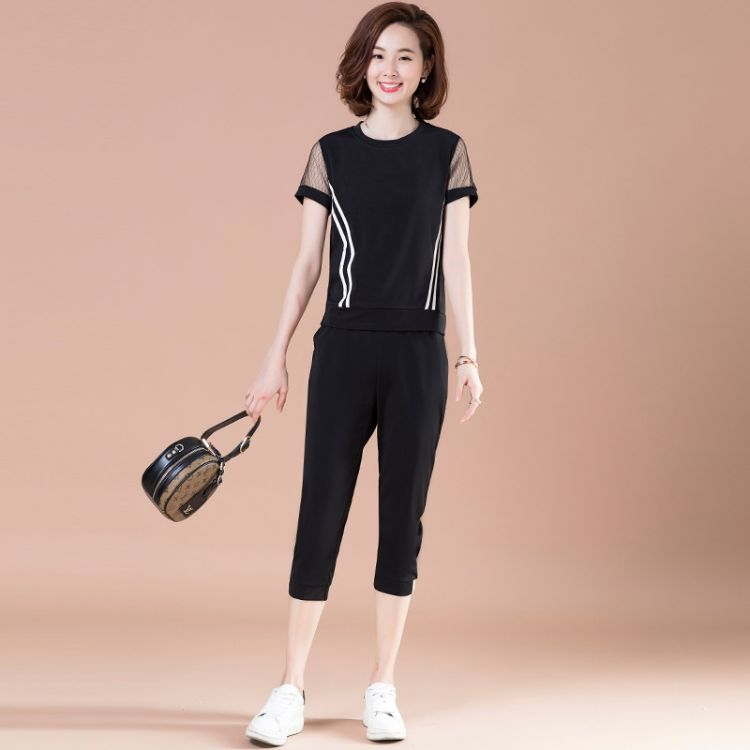 2018夏新款大码女装 胖MM韩版时尚休闲运动套装 7分小脚裤