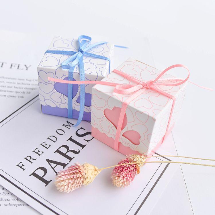 可定制心心相印喜糖盒 粉绿色结婚糖果包装纸盒   来图定制