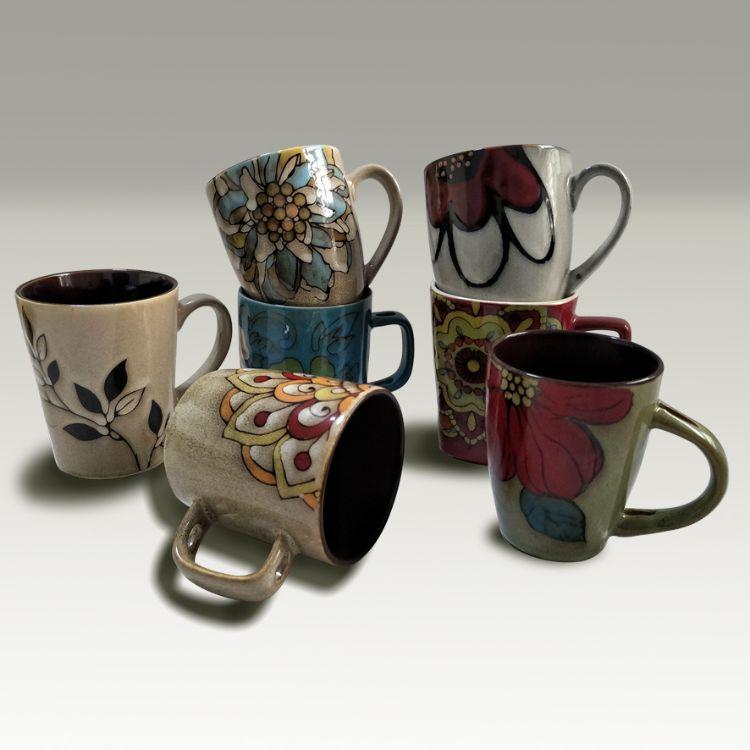外贸尾单陶瓷 供应复古窑变釉手绘动物花卉浮雕大马克带勺杯子批发订制