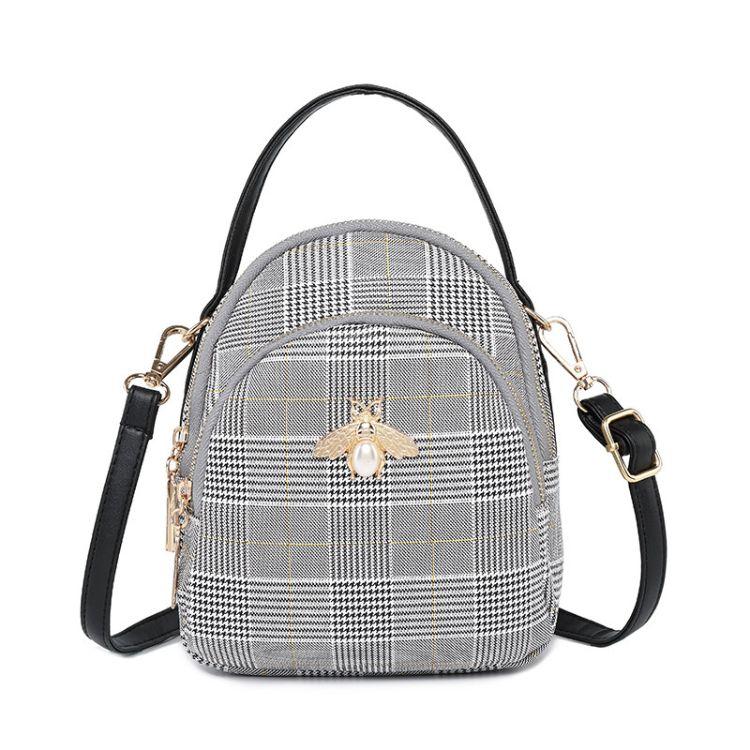秋季斜跨小包包 2018新款韩版潮 时尚格纹多用少女蜜蜂小圆包手拎