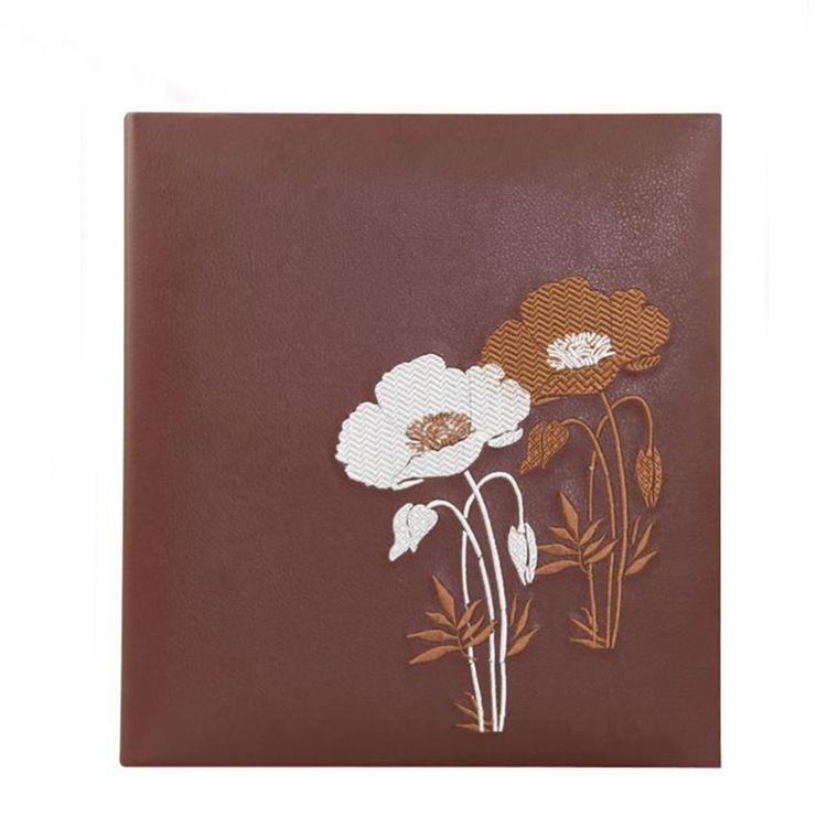 厂家定制棕色pu皮质封面活页相册 大容量印花复古相片本
