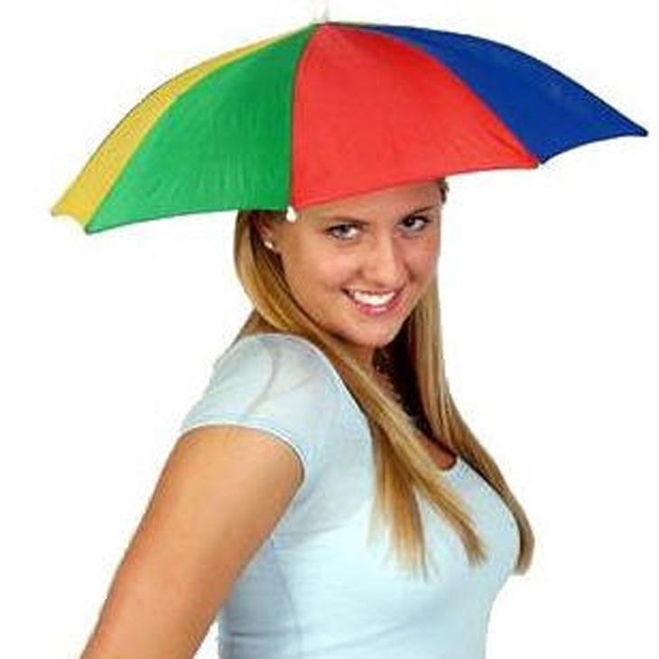 批发定制防晒彩虹西瓜彩条钓伞轻便钓鱼伞帽岗亭头戴帽伞