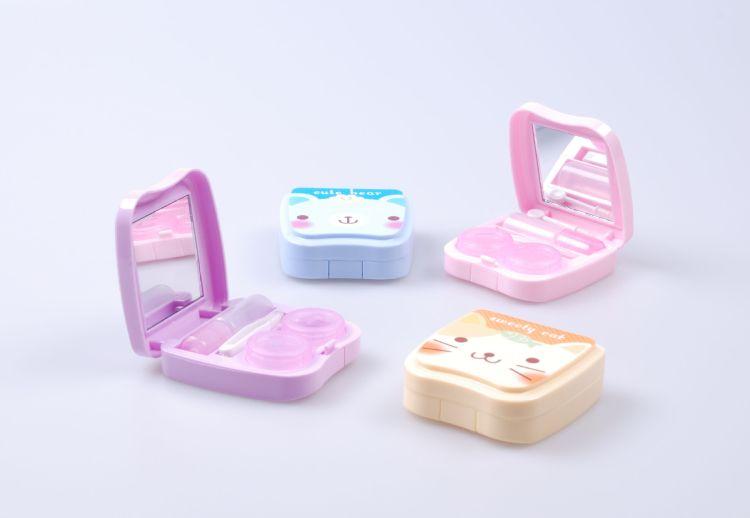 厂家直销 热销卡通便捷迷你隐形眼镜护理盒美瞳伴侣盒双联盒
