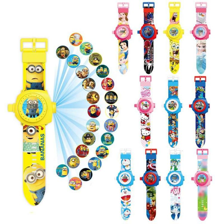 抖音同款社会人小猪珀利蜘蛛侠24投影儿童电子手表玩具益智热卖