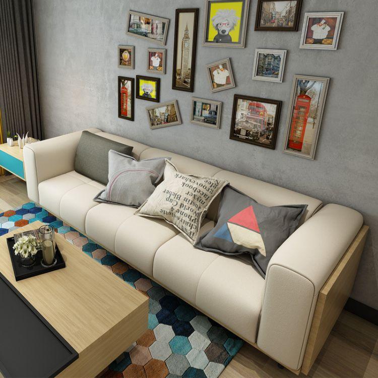 现代简约真皮沙发头层牛皮北欧设计类小户型皮沙发三人四人位组合