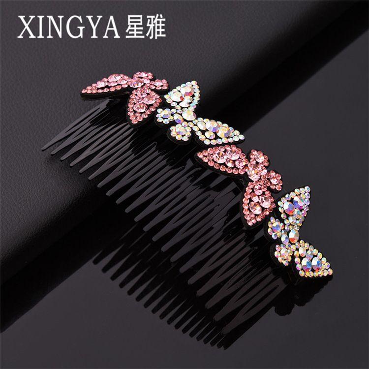 韩版创意时尚新款女士女孩镶水钻蝴蝶结发梳简约一字型发梳发饰