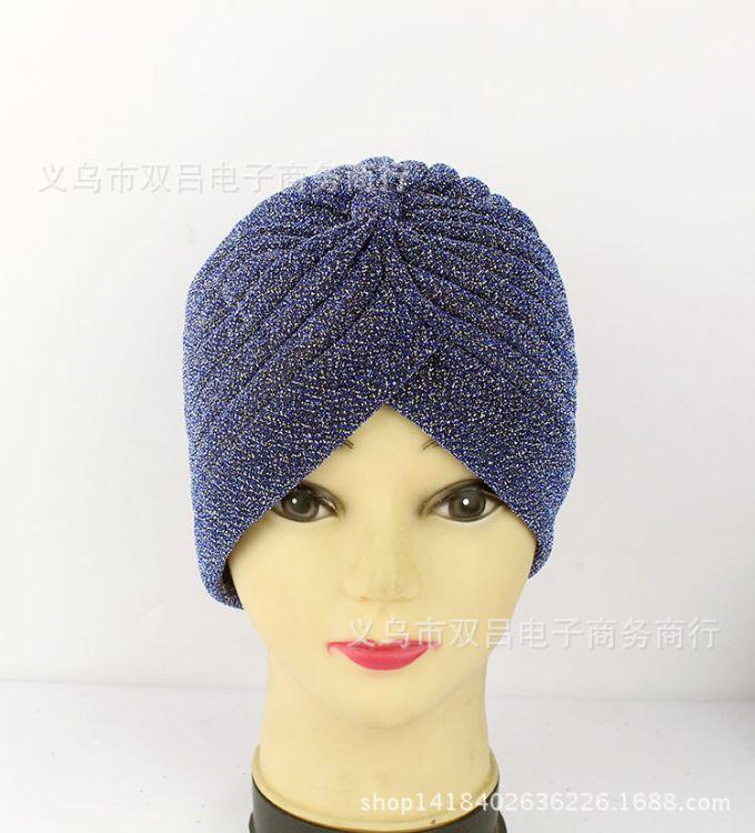 义乌双吕外贸热销百搭17年新双色厚丝印度帽穆斯林弹力帽子时装帽