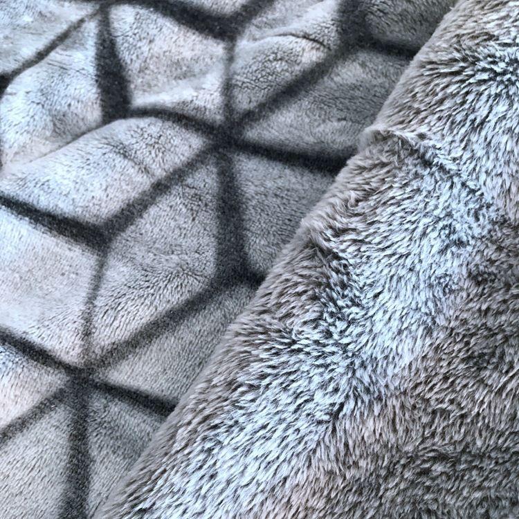 厂家定制 经编针织双面背印剪花法兰绒床品毛毯家居睡衣服装面料