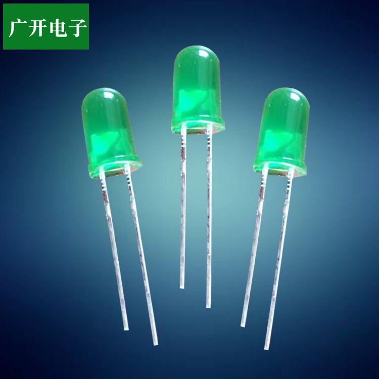 发光二极管/F5绿发翠绿/5mm草帽led灯珠批发厂家