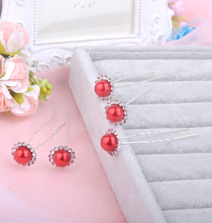厂家直销 韩版饰品 新娘盘发珍珠花朵镶钻发饰 淑女u型发簪
