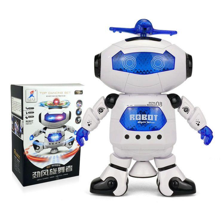 乐州劲风炫舞者旋转灯光音乐走路儿童跳舞机器人六一玩具礼物批发