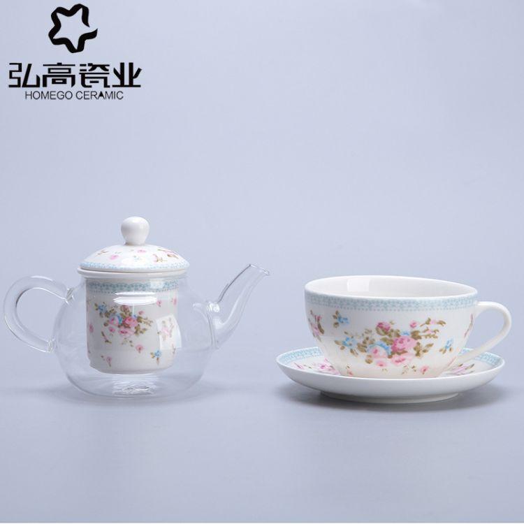 新品耐热玻璃茶具套装带碟陶瓷过滤咖啡花茶红茶煮茶器下午茶欧式