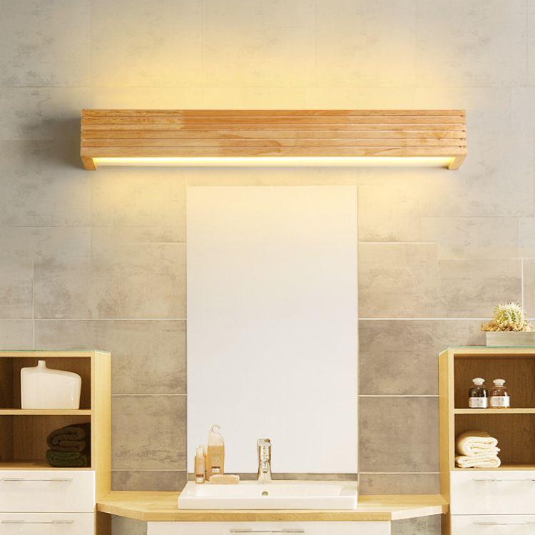 北欧实木镜前灯LED防潮卫生间现代简约镜柜灯梳妆台原木灯具批发