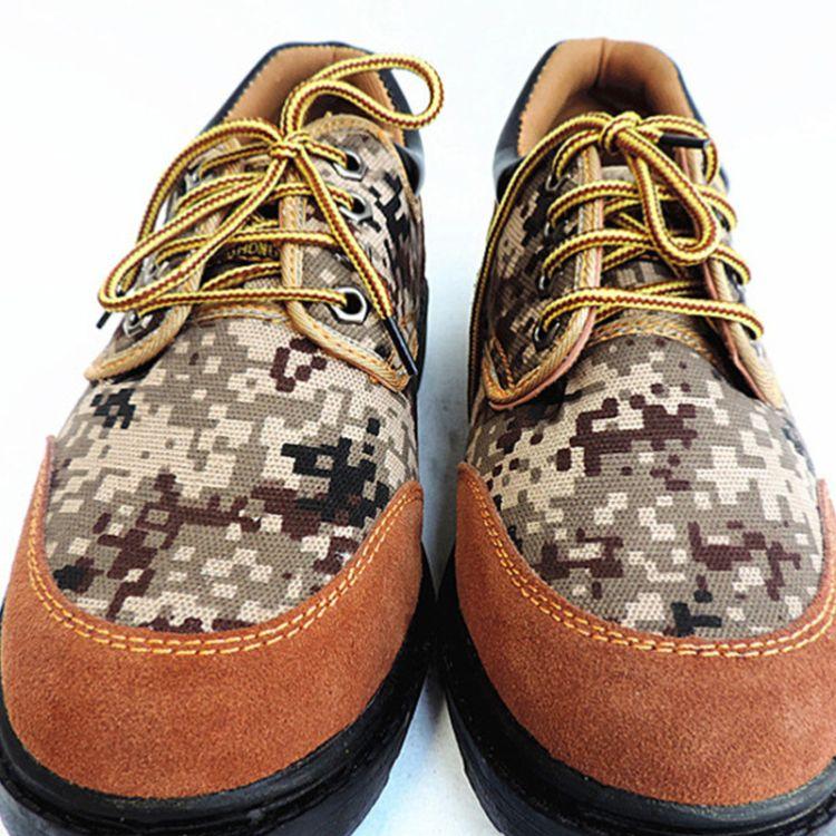 LH863 低帮反绒牛皮迷彩布橡胶底劳保鞋 户外工地作业防滑
