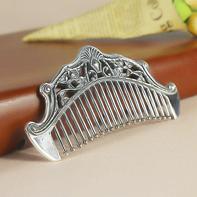 宝如行足银999保健梳流花柄 造型经典 银质制作 送礼商务馈赠自用