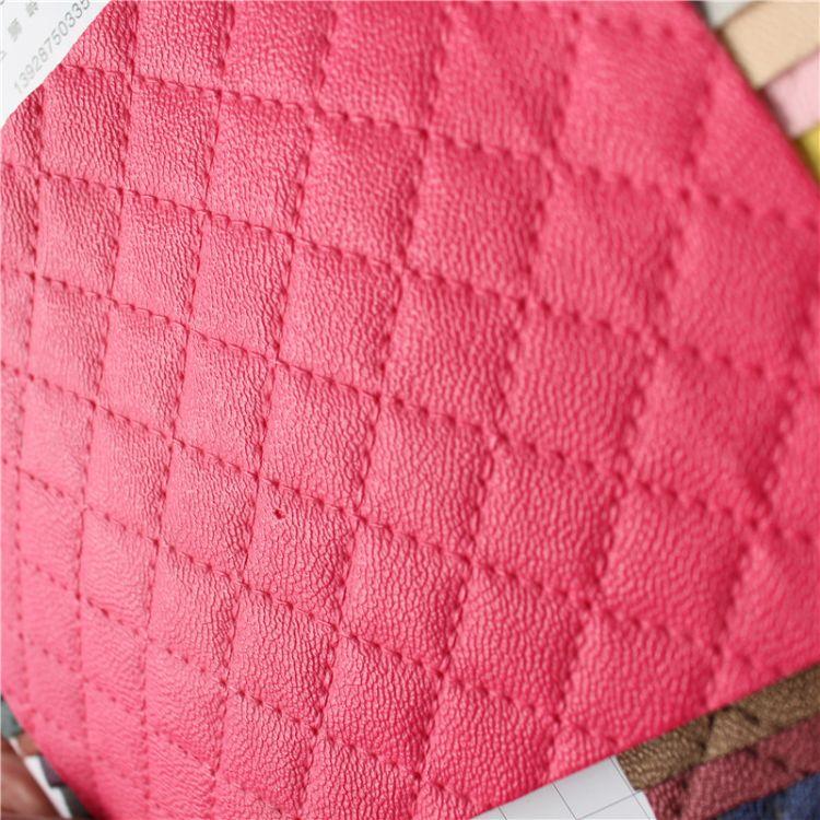 5445小方格人造革外贸出口压线格纹PU皮革面料DIY口金包材料