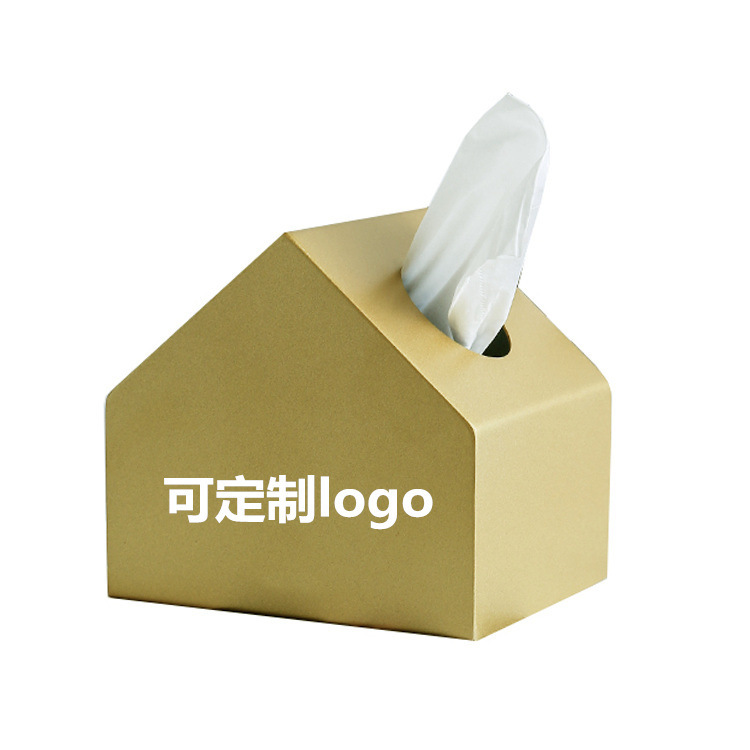 工厂定制直销 北欧金属小房子纸巾盒 咖啡店家居装饰纸巾盒餐巾盒