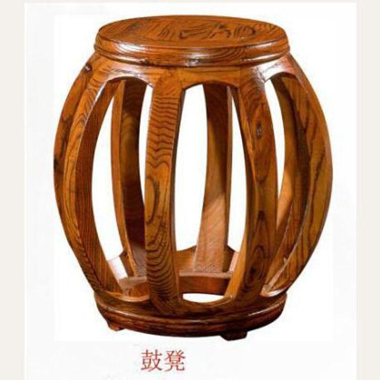 厂价直销圆古凳精品小凳子仿红木小矮凳子古典换鞋圆凳南榆木鼓凳