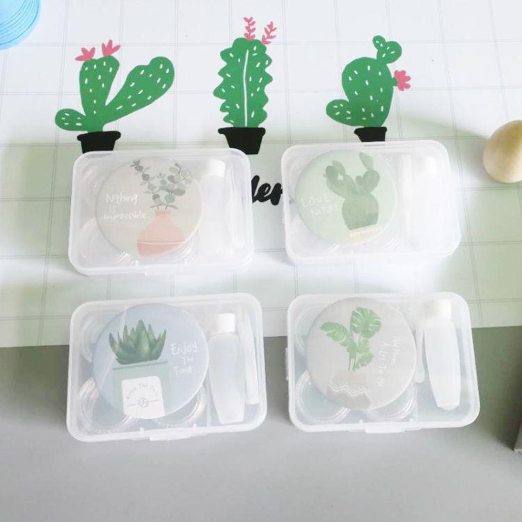 简约可爱小清新2付装美瞳盒带镜子 麦和 花的姿态便携隐形眼镜盒