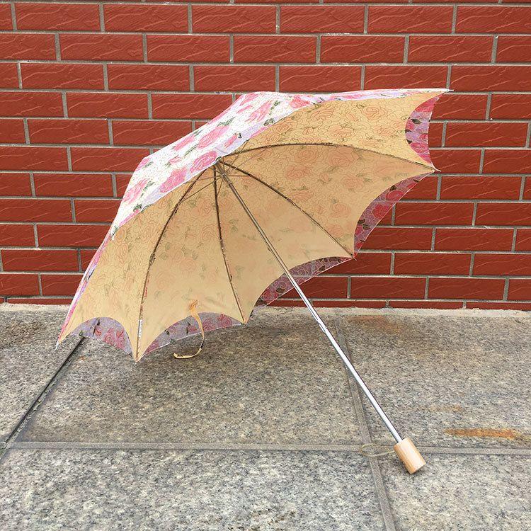 太阳伞蕾丝公主伞防晒防紫外线晴雨伞女二折刺绣花洋伞双层遮阳伞
