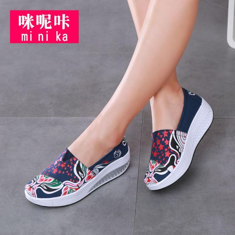 咪呢咔老北京布鞋女春2018新款厚底帆布鞋一脚蹬防滑软底摇摇鞋女