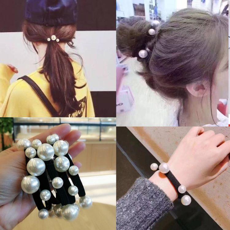 东大门头绳韩国发饰大小珍珠钉珠发圈马尾辫扎丸子头皮筋成人儿童