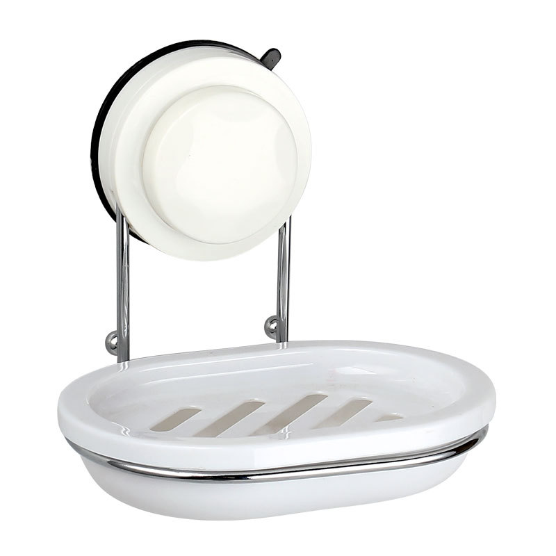 现货批发新不锈钢肥皂架 塑料香皂盒双层沥水香皂架 吸盘肥皂盒