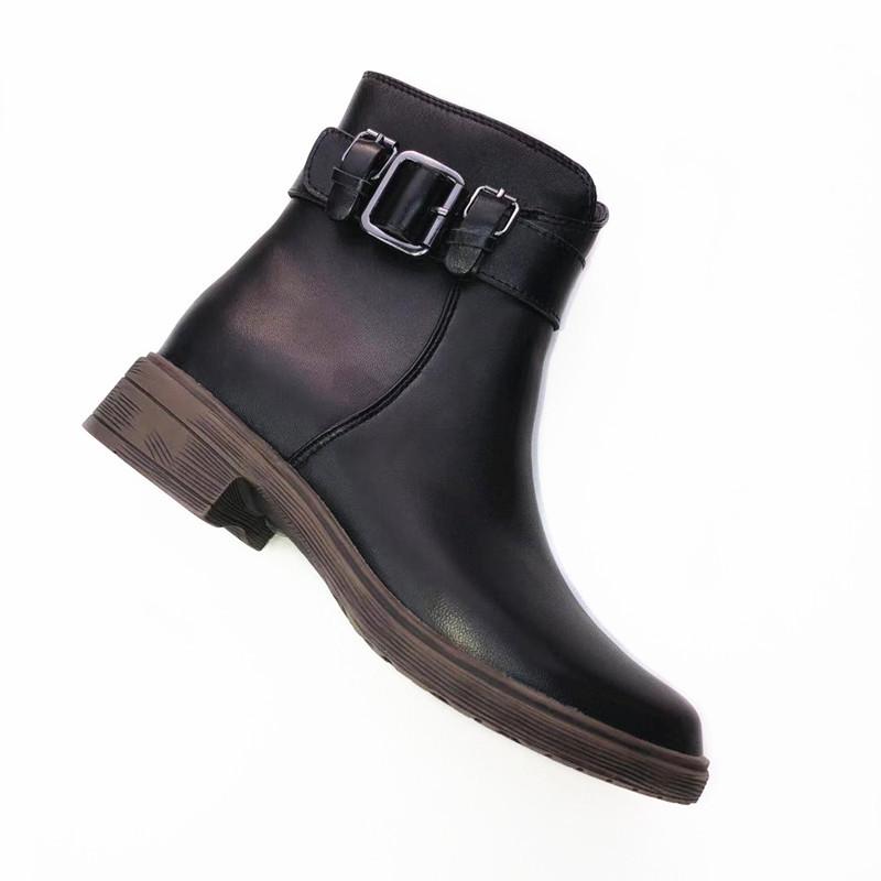 厂家直销秋冬新款圆头低跟平底真皮欧美短靴女 低筒切尔西靴子