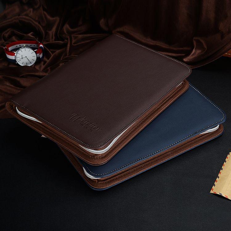 A5商务拉链包记事本皮质经理夹销售夹韩版日记本笔记本定制logo