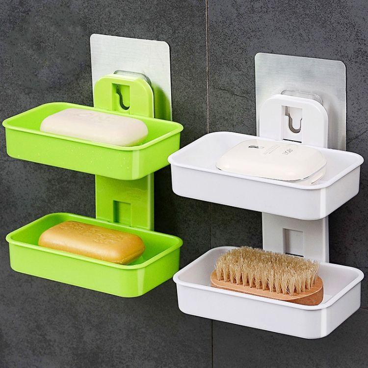 双层香皂盒吸盘卫生间壁挂吸壁式肥皂盒创意沥水皂盒大号置物架