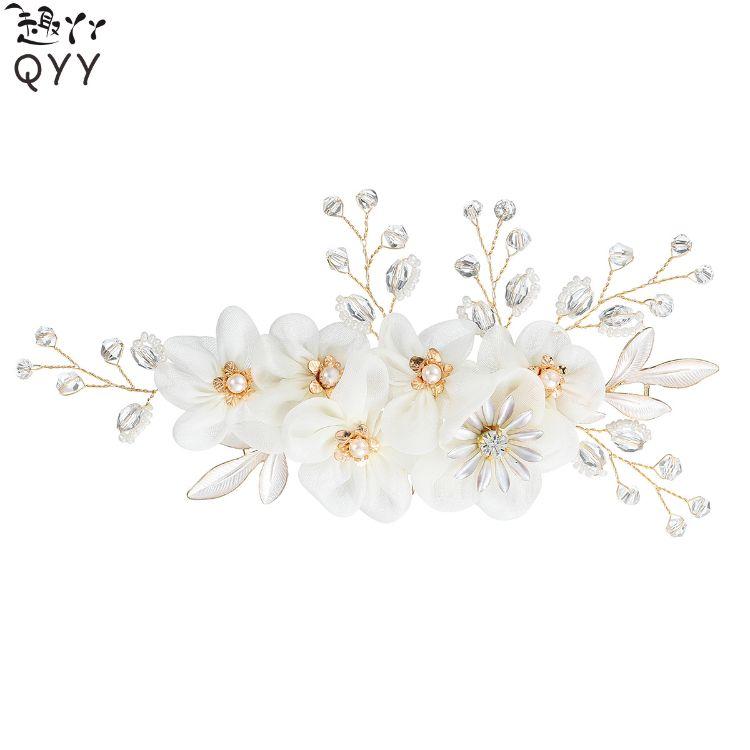 时尚花朵欧美新娘饰品手工水钻结婚头饰新娘发梳女式盘发插梳批发