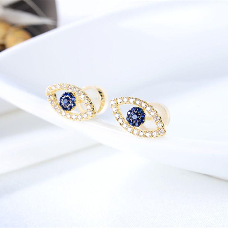 魅德珠银饰 厂家批发 通体925纯银材质 精致金色蓝眼睛耳钉