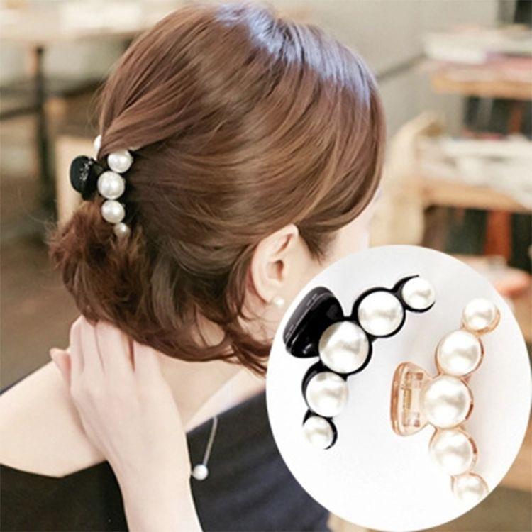 韩国新款时尚气质发饰头饰品日韩甜美淑女大珍珠中号发卡发夹抓夹