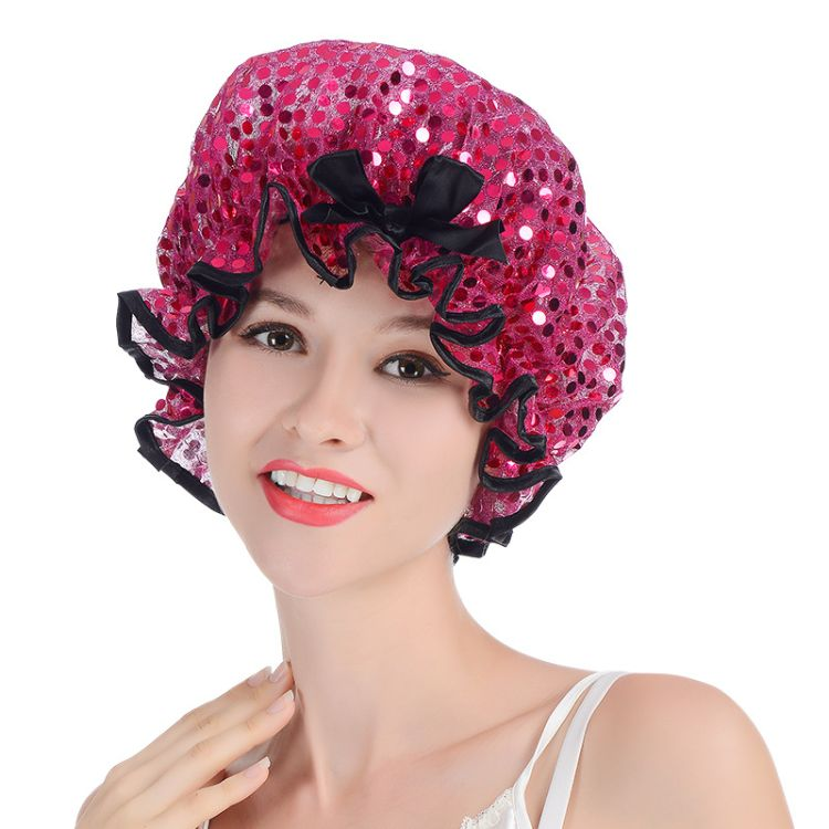 宸富顺宇浴帽女款双层防水成人可爱头套厨房防油烟帽子洗澡加厚洗头沐浴帽