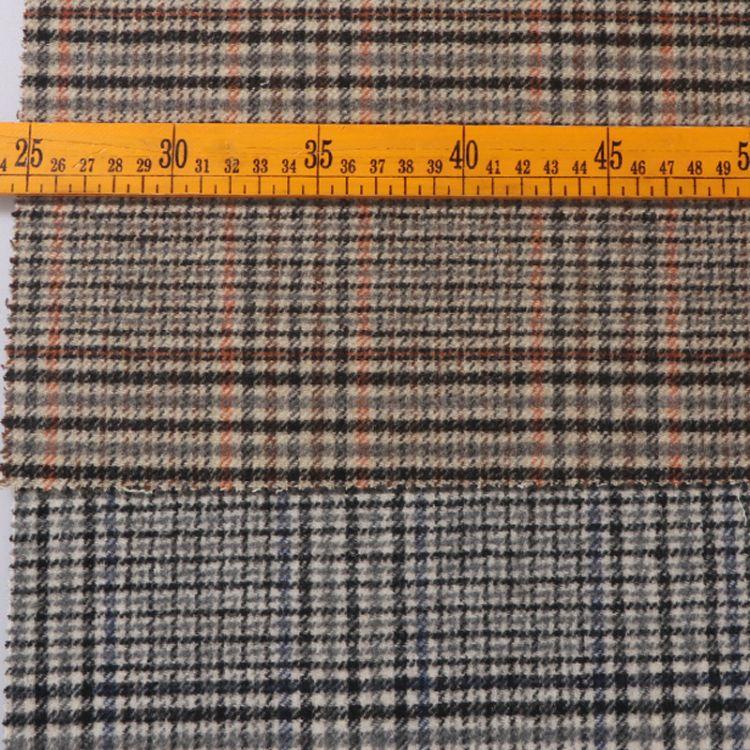 浅蓝格 砖红格双面小格子全羊毛面料批发布料现货可定做可代工