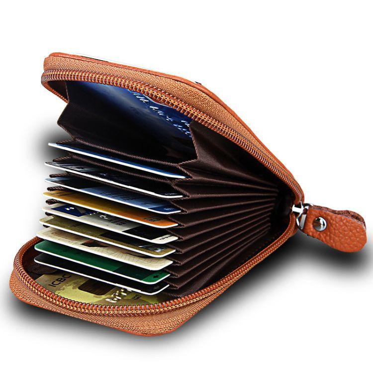厂家批发价防磁RFID风琴卡包真皮多卡位卡包礼品定制信用卡夹卡套