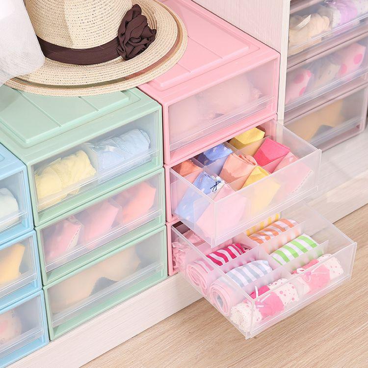 新款创意塑料收纳柜 创意移动分层收纳防尘柜抽屉式衣柜可叠放