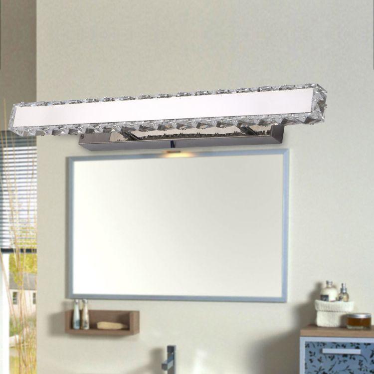 欧式镜前灯 led简约现代镜灯浴室卫生间水晶不锈钢镜柜灯