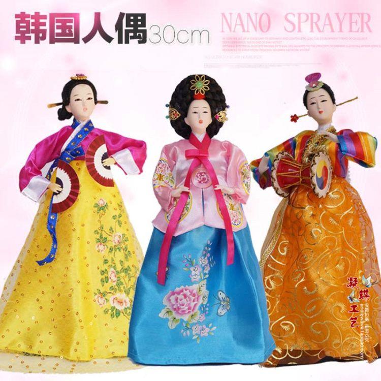 厂家直发韩国人偶娃娃绢人30cm朝鲜民俗工艺品摆件家居装饰品摆设
