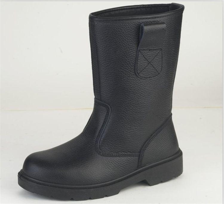 晴雨两用黑色皮鞋长筒靴子 防滑耐磨工作雨鞋时尚胶鞋防腐蚀胶靴