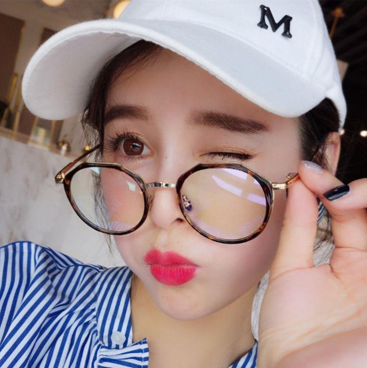 2018新款男女韩版防蓝光眼镜架复古圆形防蓝光眼镜金属平光护目镜