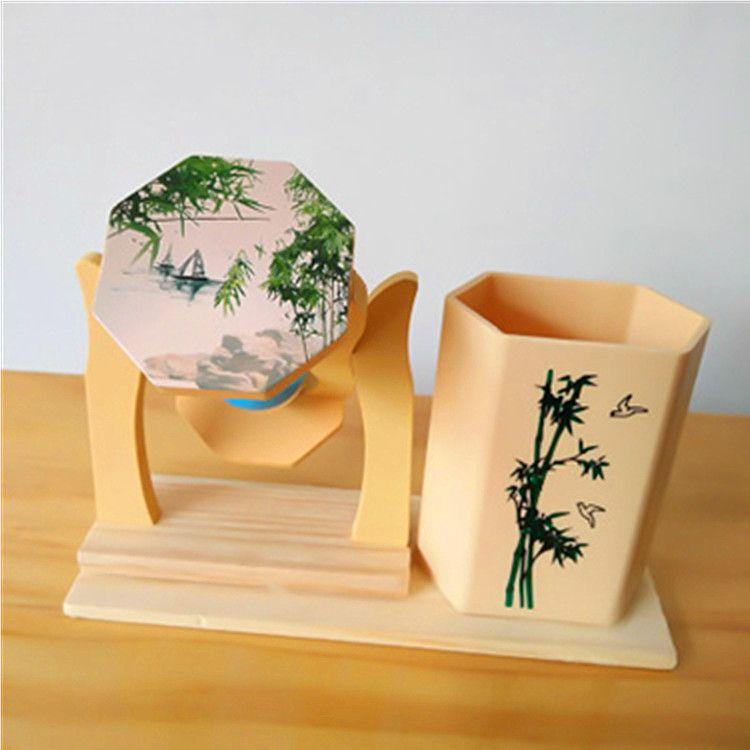 木制流沙多种款式笔筒旋转沙漏 艺术创意办公礼品 工艺品礼品批发