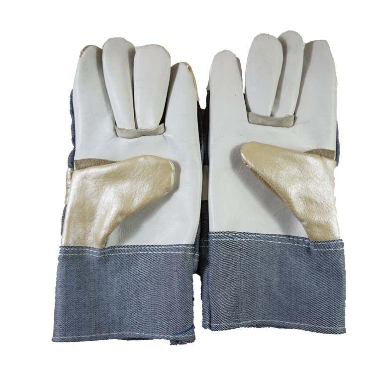 牛仔布家私皮彩色亮皮浅色全掌拼皮电焊焊工劳保海员加固拼接手套